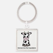 Animals Are Not Ingredients (Cow) Square Keychain