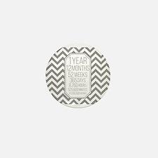 1 Year (Gray Chevron) Mini Button