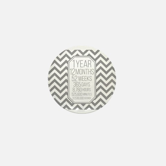 1 Year (Gray Chevron) Mini Button