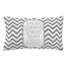 1 Year (Gray Chevron) Pillow Case