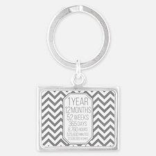 1 Year (Gray Chevron) Landscape Keychain