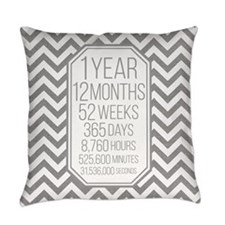 1 Year (Gray Chevron) Everyday Pillow