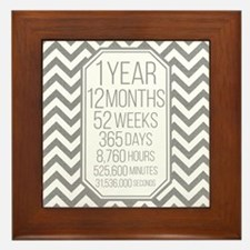 1 Year (Gray Chevron) Framed Tile