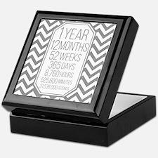 1 Year (Gray Chevron) Keepsake Box