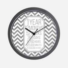 1 Year (Gray Chevron) Wall Clock