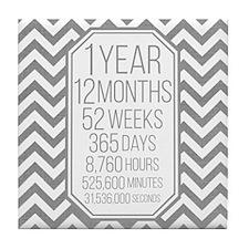 1 Year (Gray Chevron) Tile Coaster