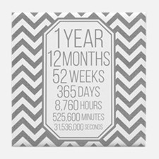 1 Year (Gray Chevron) Tile Coaster
