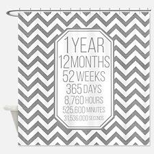 1 Year (Gray Chevron) Shower Curtain