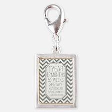 1 Year (Gray Chevron) Silver Portrait Charm