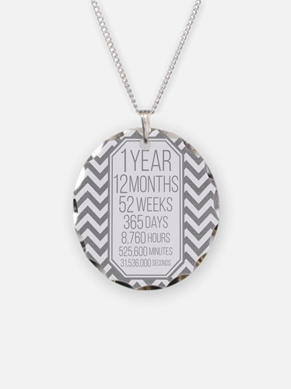 1 Year (Gray Chevron) Necklace Circle Charm