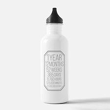 1 Year (Gray Chevron) Water Bottle