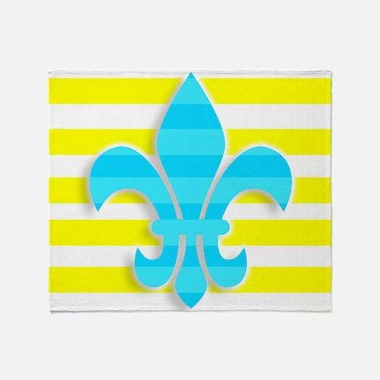 Blue Yellow White Stripe Fleur De Li Throw Blanket