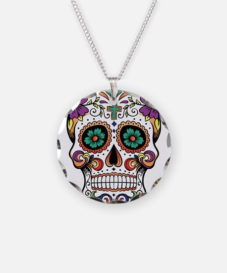 sugar skull Necklace Circle Charm