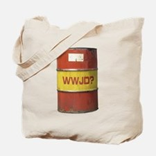 WWJD? Oil Barrel Tote Bag