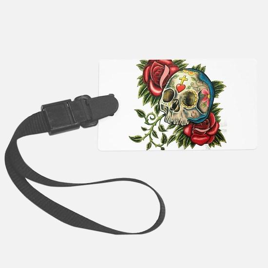 sugar skull roses Luggage Tag