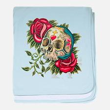 sugar skull roses baby blanket