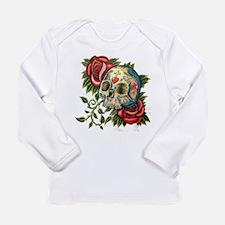 sugar skull roses Long Sleeve T-Shirt