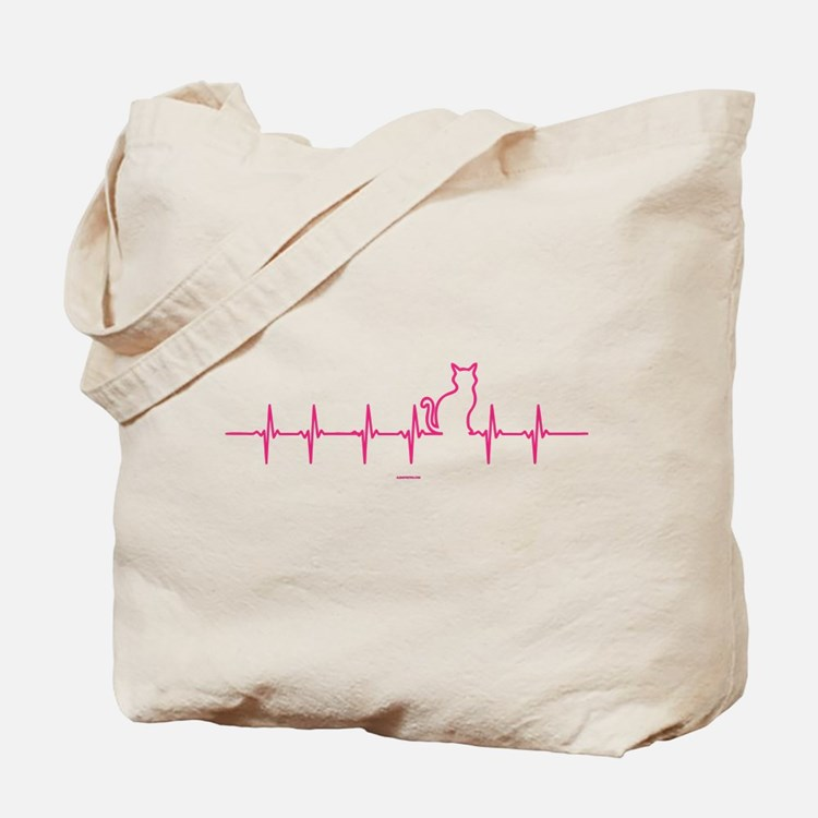 Cat Heartbeat Tote Bag