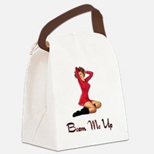 Sci Fi Pin up for white backgroun Canvas Lunch Bag