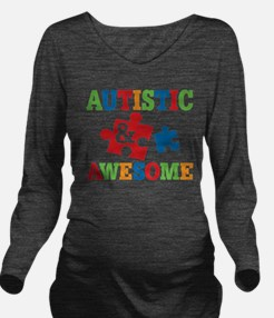 Autistic Awesome Long Sleeve Maternity T-Shirt