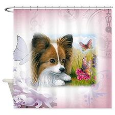 Dog 123 Papillon Shower Curtain