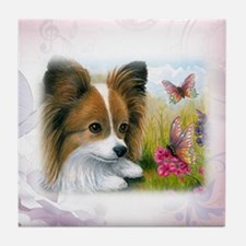 Dog 123 Papillon Tile Coaster