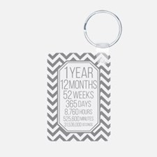 1 Year (Gray Chevron) Keychains