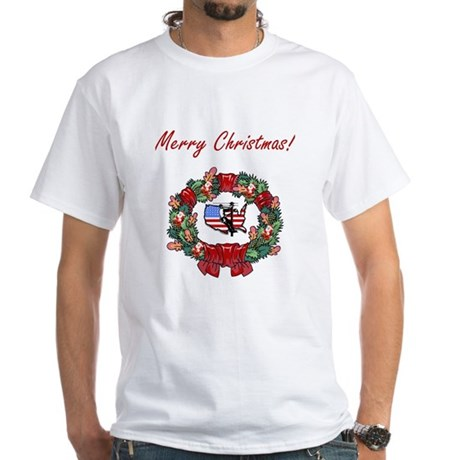 Lineman Merry X-mas White T-Shirt