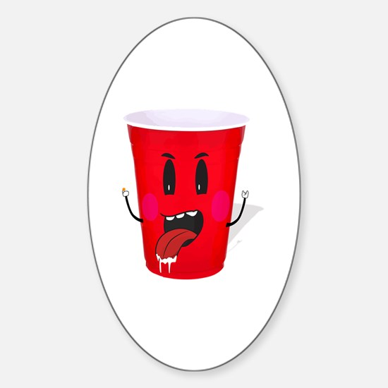 Cups playing beer pong Sticker (Oval)
