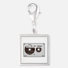 Play the Tape Silver Square Charm