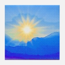 Watercolor Sunrise Tile Coaster