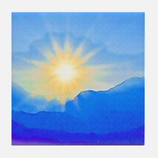 Watercolor Sunrise Tile Coaster