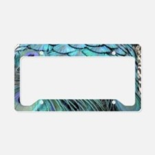 Cool Blue Peafowl Feathers License Plate Holder