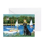 Sailboats & Black Lab Greeting Cards (Pk of 20)