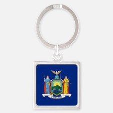 New York State Flag Square Keychain