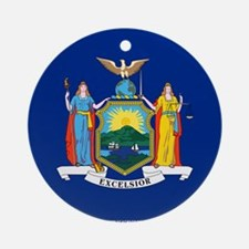 New York State Flag Round Ornament