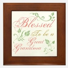 Blessed To Be A Great Grandma Framed Tile