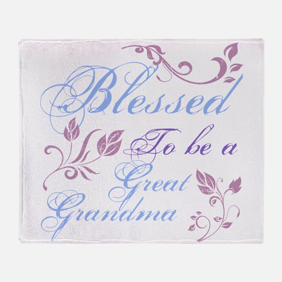 Blessed To Be A Great Grandma Throw Blanket