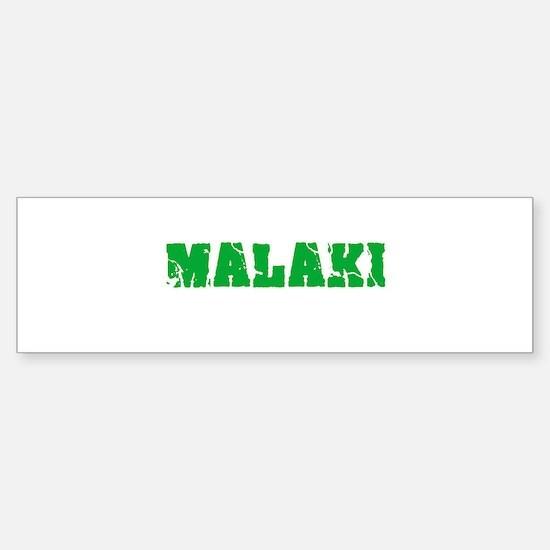 Malaki Name Weathered Green Design Bumper Car Car Sticker