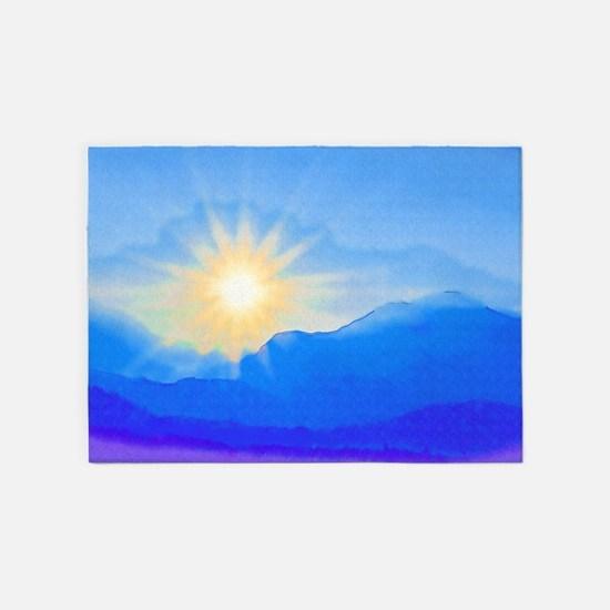 Watercolor Sunrise 5'x7'Area Rug