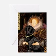 The Queen's Black Lab Greeting Card