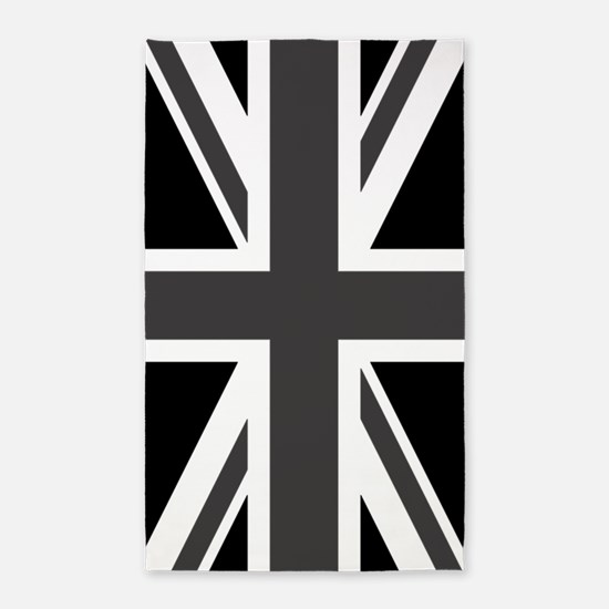 Union Jack: Black & White Area Rug