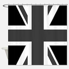 Union Jack: Black & White Shower Curtain