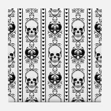 Baroque Skull Stripe Black/White Tile Coaster