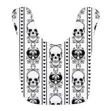 Baroque Skull Stripe Black/White Bib