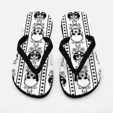 Baroque Skull Stripe Black/White Flip Flops
