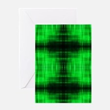 tribal neon green batik Greeting Cards