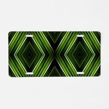 hipster lime green argyle Aluminum License Plate