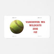Yellow Softball Team Design Aluminum License Plate