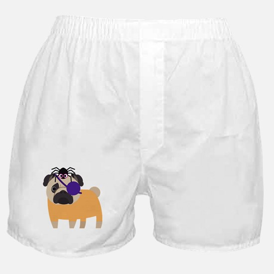 Halloween Pug Pirate with Spider Boxer Shorts